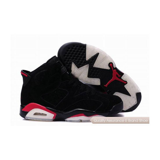 Nike Air Jordan 6 Suede Black Red Sneakers