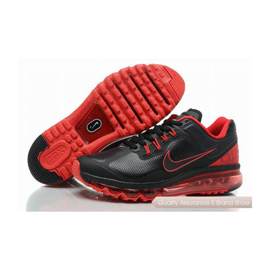 Nike Air Max 2013 Mens Leather Black Red Sneakers