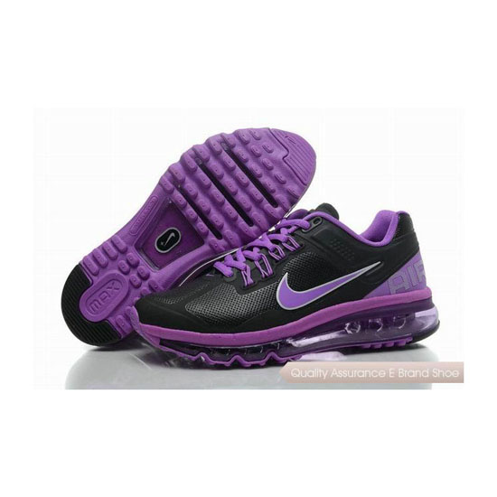 Nike Air Max 2013 Womens Leather Black Purple Sneakers