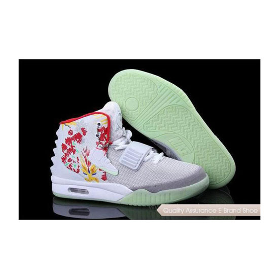 Nike Air Yeezy 2 Bird of Paradise White/Grey/Silver Basketball Shoes