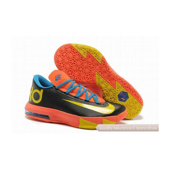 Nike Zoom KD VI Black-Blue/Team Orange-Yellow Basketball Shoes
