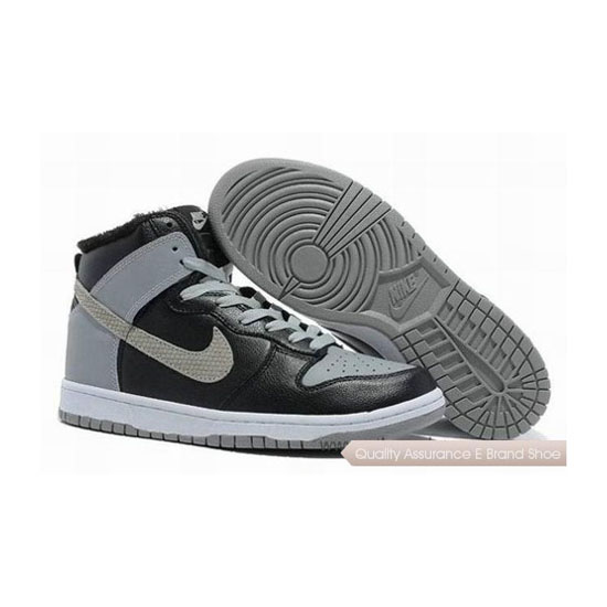 Nike Dunk Cut Fur Inside Black Grey Mens Sneakers