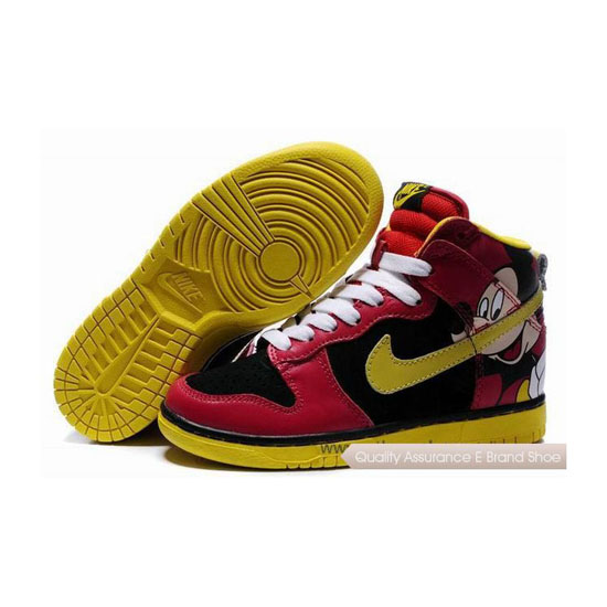 Nike Dunk SB Cut Mickey Mouse red black yellow white Womens Sneakers