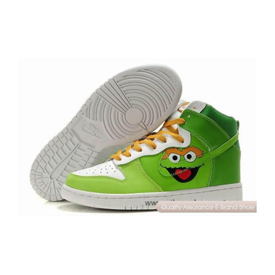 Nike Dunk SB Oscar the Grouch green white yellow Mens Sneakers