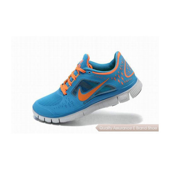 Nike Free Run+ 3 Womens Running Shoe Sky Blue Orange