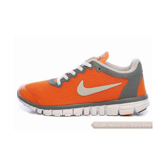 Nike Free 3.0 V2 Womens Running Shoe Orange Grey White