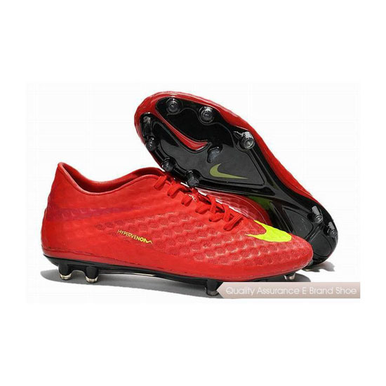 Nike Hypervenom Phantom FG Cleats Chinese Red Fluorescent Green