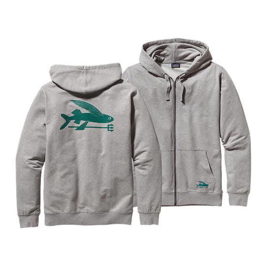 PATAGONIA MEN'S FLYING FISH MIDWEIGHT HOODED FULL-ZIP SWEATSHIRT