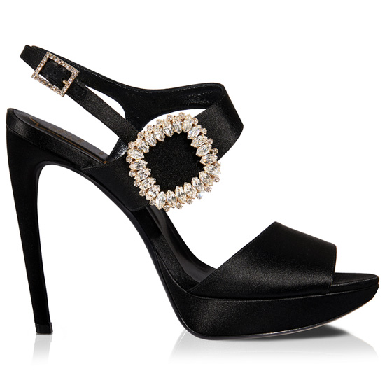 ROGER VIVIER CHIPS SANDALS IN SILK SATIN WITH RHINESTONES