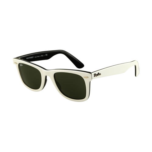 Ray Ban RB2140 Wayfarer Sunglasses Top White on Black Frame Crys