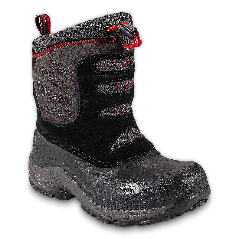 NORTH FACE BOYS SNOW PLOUGH PULL-ON BOOT BLACK / INDIAN CLAY RED