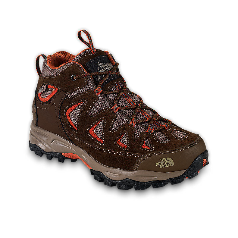 NORTH FACE BOYS VINDICATOR WP SHOE DRK EARTH BN / HABANERO ORANGE