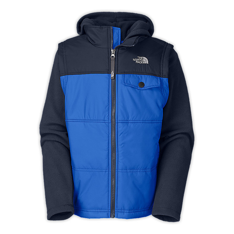 NORTH FACE BOYS VESTY VEST FLEECE HOODIE JAKE BLUE / DEEP WATER BLUE