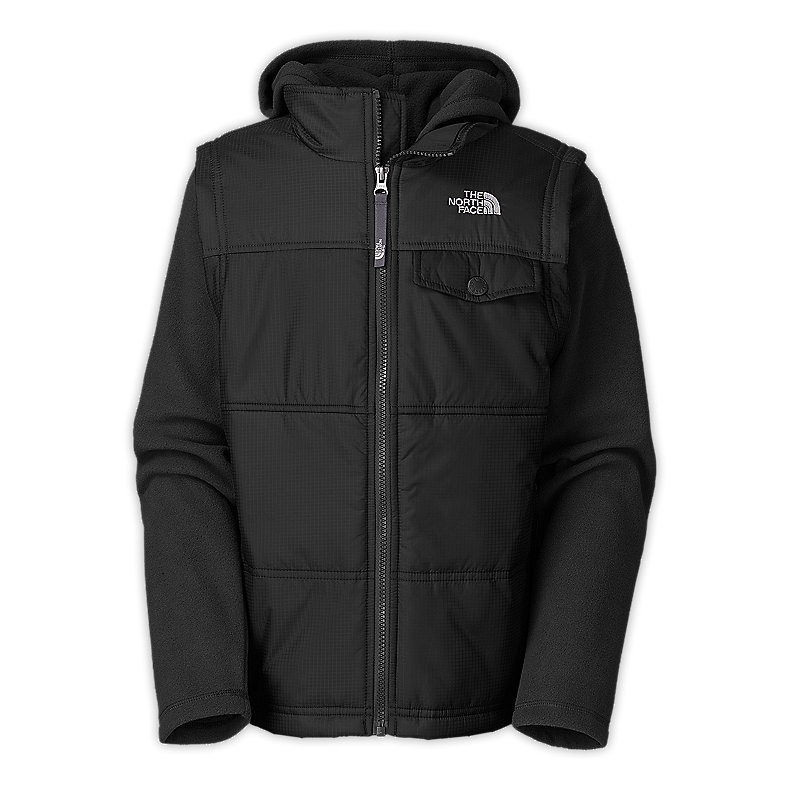 NORTH FACE BOYS VESTY VEST FLEECE HOODIE TNF BLACK