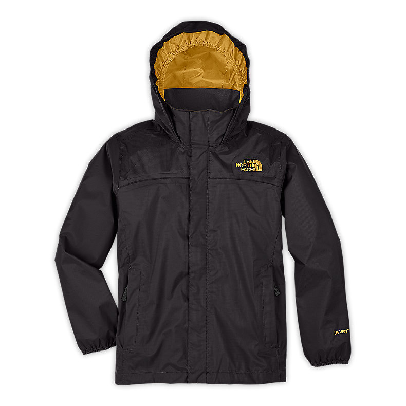 NORTH FACE BOYS RESOLVE JACKET GRAPHITE GREY / LEOPARD YELLOW