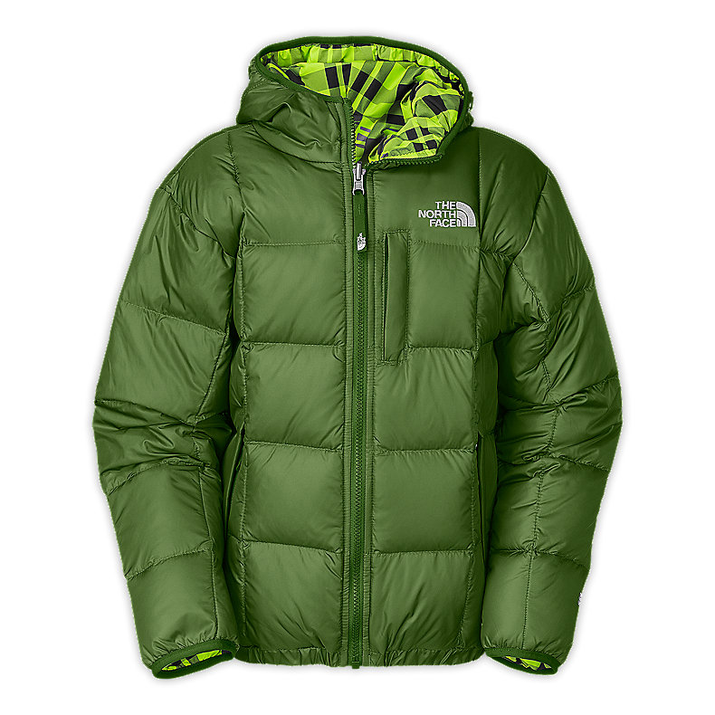 NORTH FACE BOYS REVERSIBLE DOWN MOONDOGGY JACKET CONIFER GREEN