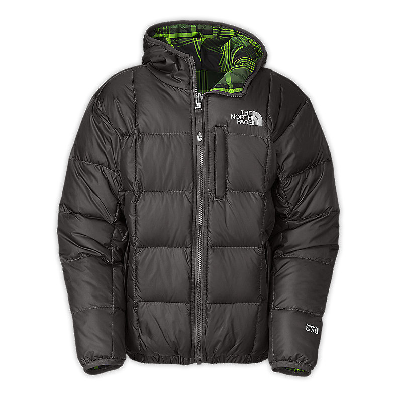 NORTH FACE BOYS REVERSIBLE DOWN MOONDOGGY JACKET GRAPHITE GREY