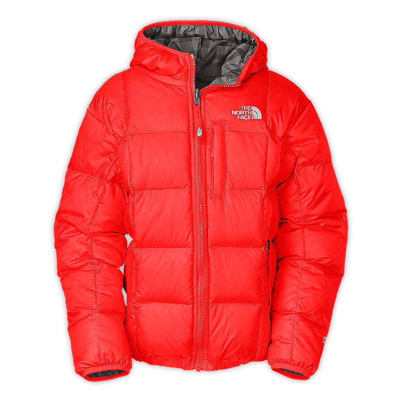 NORTH FACE BOYS REVERSIBLE DOWN MOONDOGGY JACKET FIERY RED