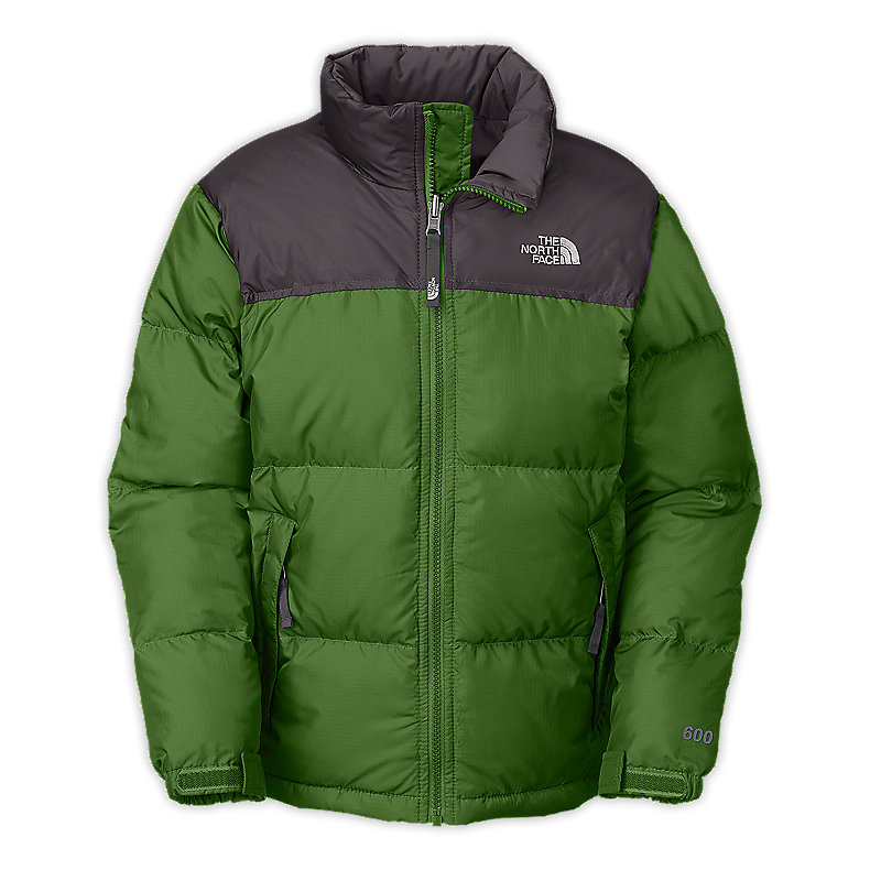 NORTH FACE BOYS NUPTSE JACKET CONIFER GREEN / GRAPHITE GREY