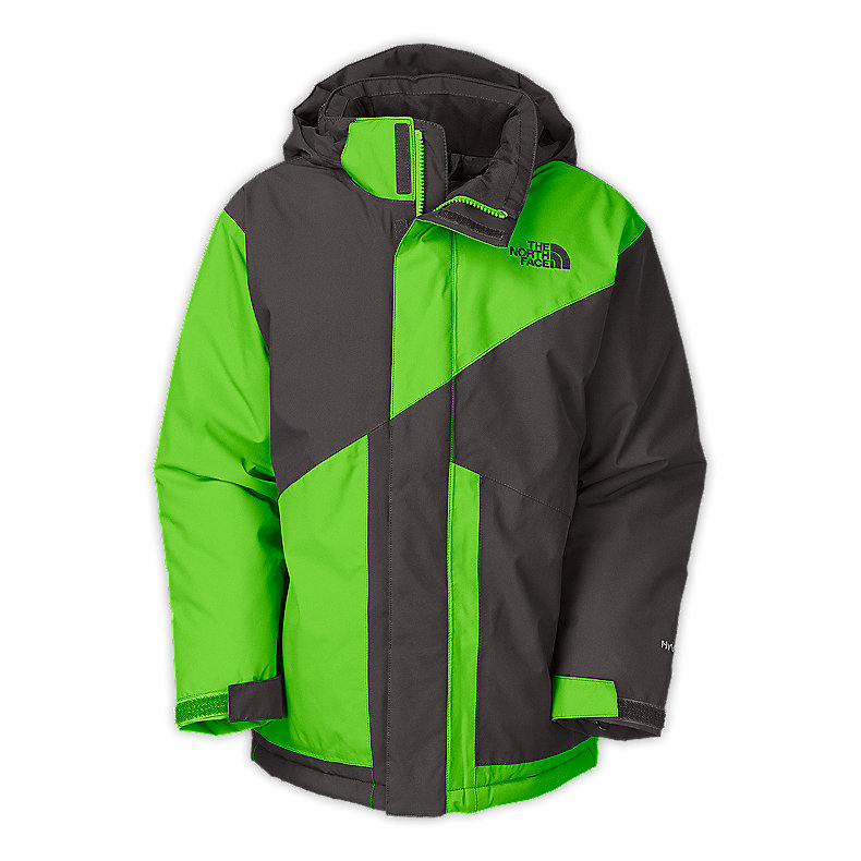 NORTH FACE BOYS BRIGHTTEN INSULATED JACKET GRAPHITE GREY / GLO GREEN