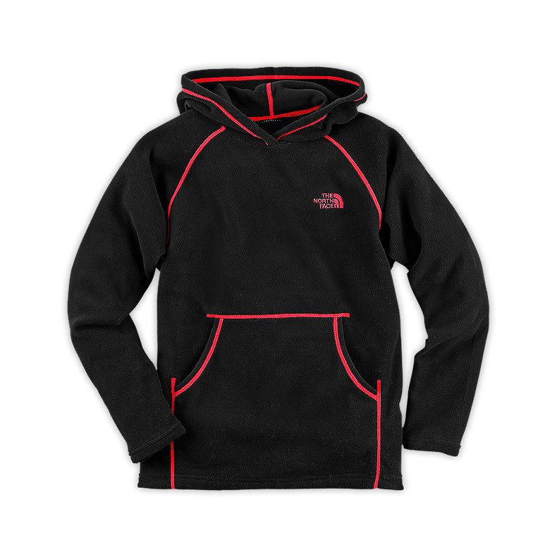 NORTH FACE BOYS GLACIER PULLOVER HOODIE TNF BLACK / FIERY RED