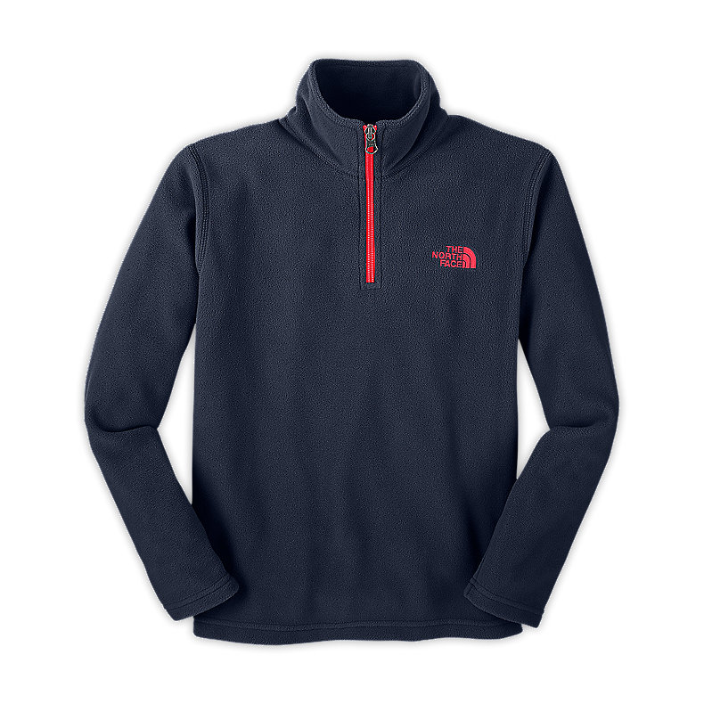 NORTH FACE BOYS GLACIER 1/4 ZIP DEEP WATER BLUE / FIERY RED