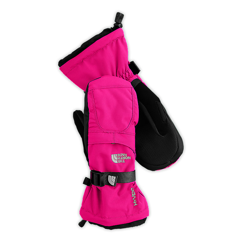 NORTH FACE GIRLS MONTANA MITT RAZZLE PINK / TNF BLACK