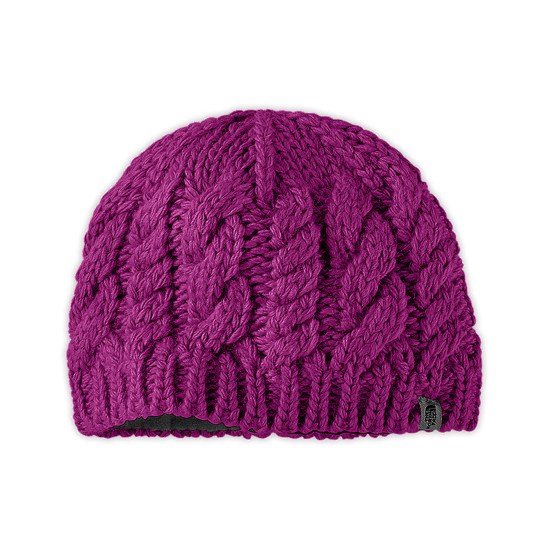 NORTH FACE GIRLS CABLE FISH BEANIE PREMIERE PURPLE