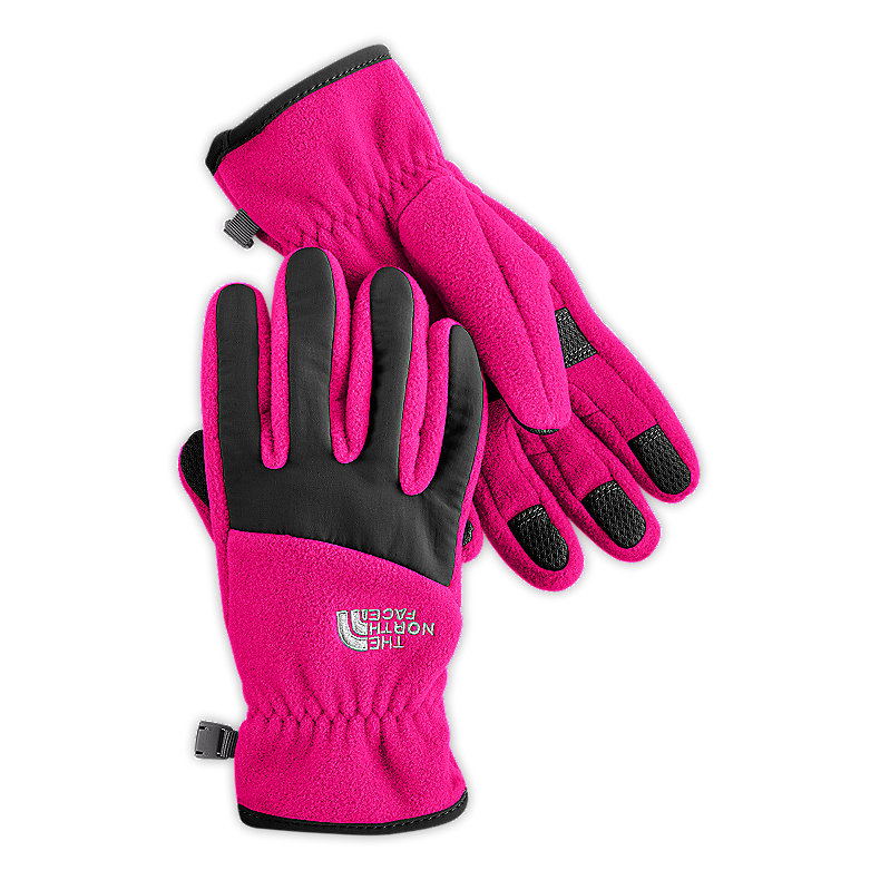 NORTH FACE GIRLS DENALI GLOVE RAZZLE PINK / TNF BLACK