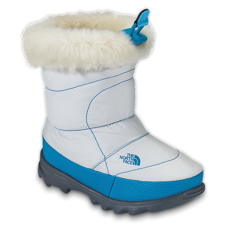 NORTH FACE GIRLS TODDLER NUPTSE BOOTIE II FUR MOONLIGHT IVORY / TURQUOISE BLUE