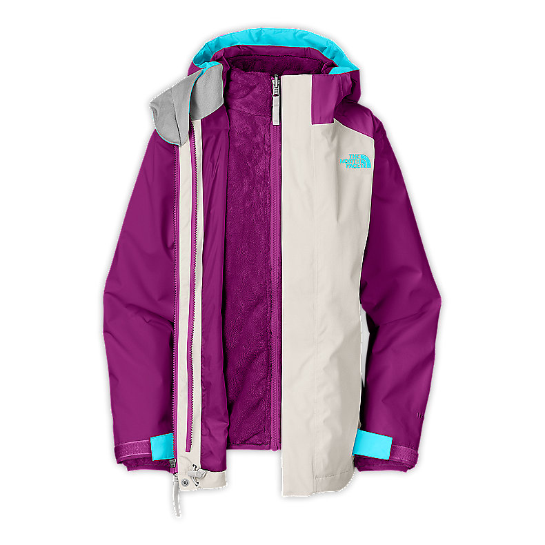 NORTH FACE GIRLS FALLON TRICLIMATE JACKET ETHER GREY / PREMIERE PURPLE