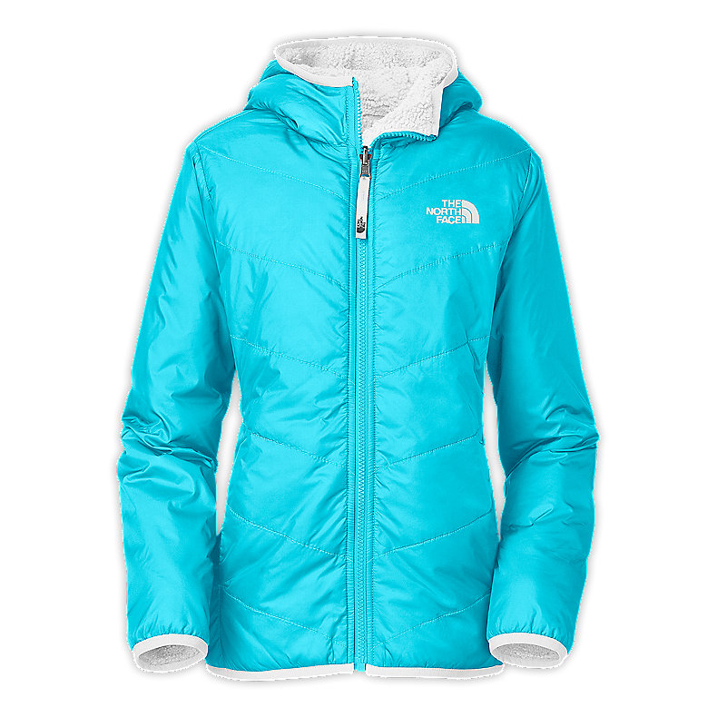 NORTH FACE GIRLS REVERSIBLE PERSEUS JACKET TURQUOISE BLUE / TNF WHITE