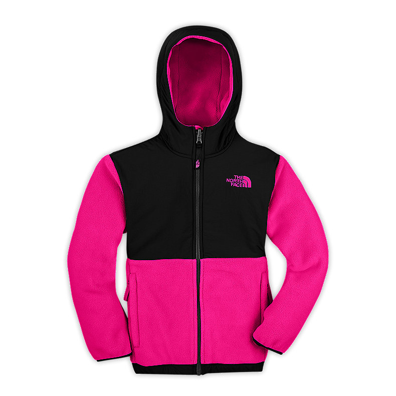 NORTH FACE GIRLS DENALI HOODIE RAZZLE PINK / TNF BLACK