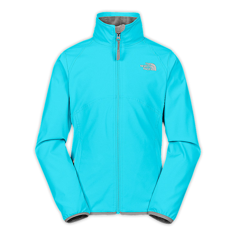 NORTH FACE GIRLS MOSSBUD SOFT SHELL JACKET TURQUOISE BLUE