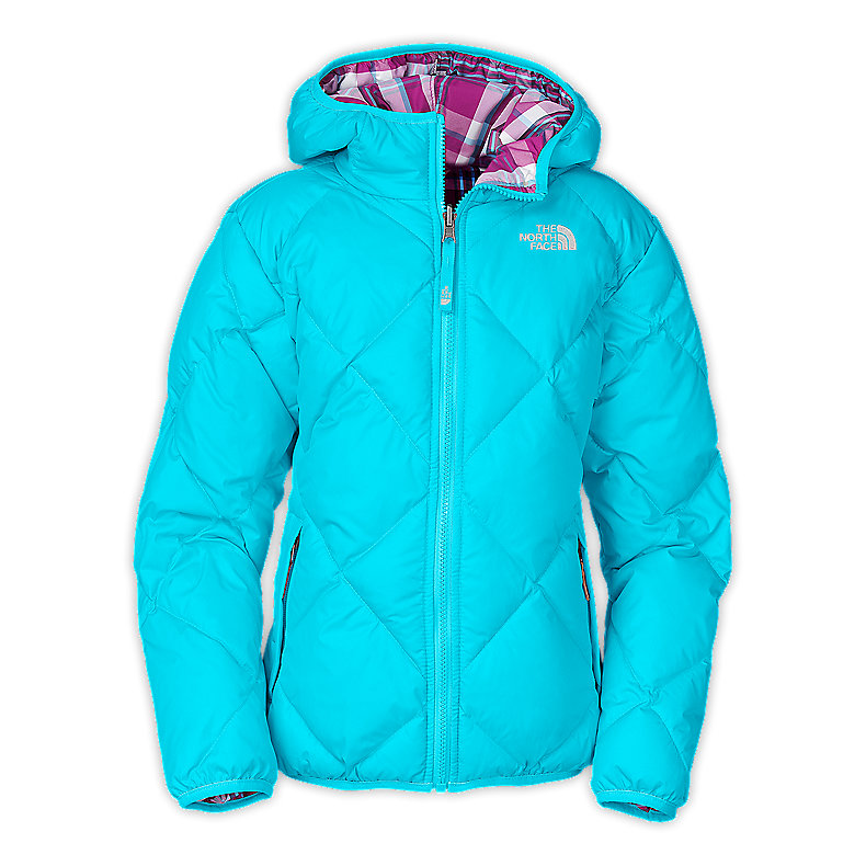 NORTH FACE GIRLS REVERSIBLE DOWN MOONDOGGY JACKET TURQUOISE BLUE