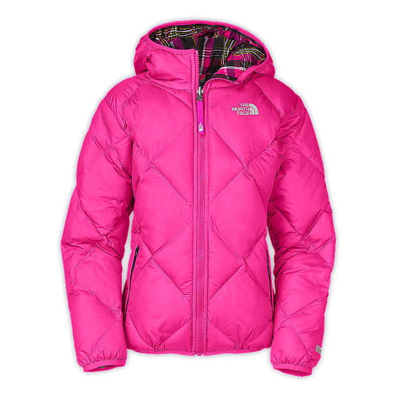 NORTH FACE GIRLS REVERSIBLE DOWN MOONDOGGY JACKET RAZZLE PINK