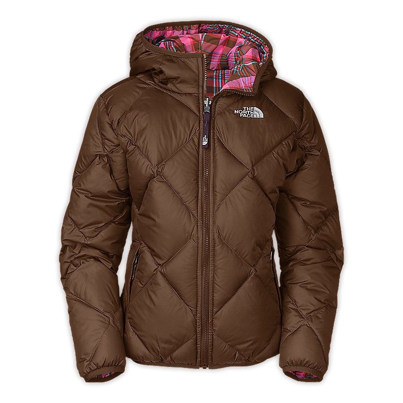 NORTH FACE GIRLS REVERSIBLE DOWN MOONDOGGY JACKET BURROW BROWN