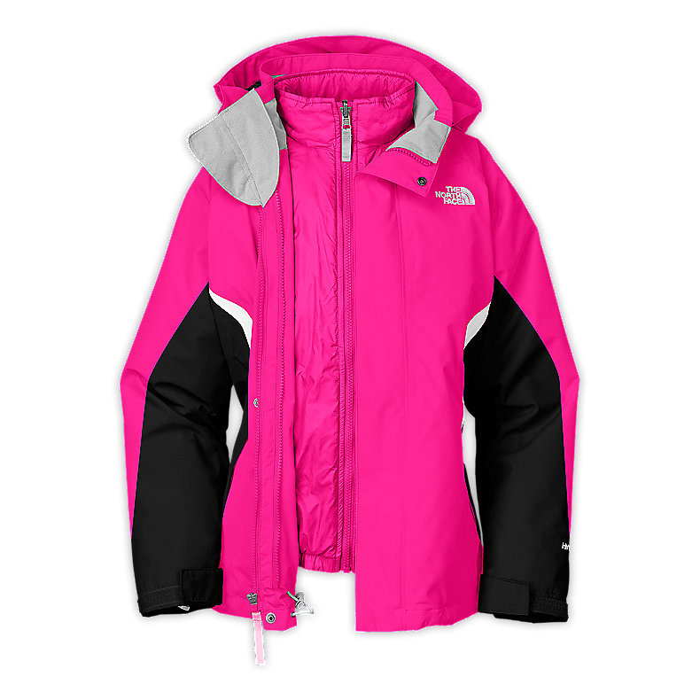 NORTH FACE GIRLS BOUNDARY TRICLIMATE JACKET RAZZLE PINK / TNF BLACK