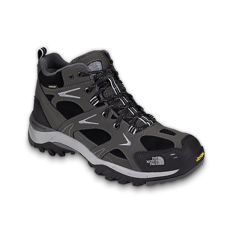 NORTH FACE MEN HEDGEHOG LEATHER MID GTX XCR TNF BLACK / GRAPHITE GREY