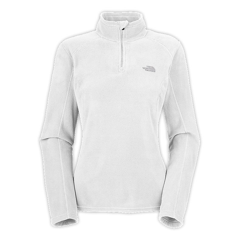 NORTH FACE WOMEN TKA 100 MICROVELOUR GLACIER 1/4 ZIP TNF WHITE