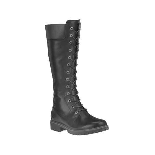 Timberland Womens 14-Inch Premium Side-Zip Lace Waterproof Boots Black Smooth