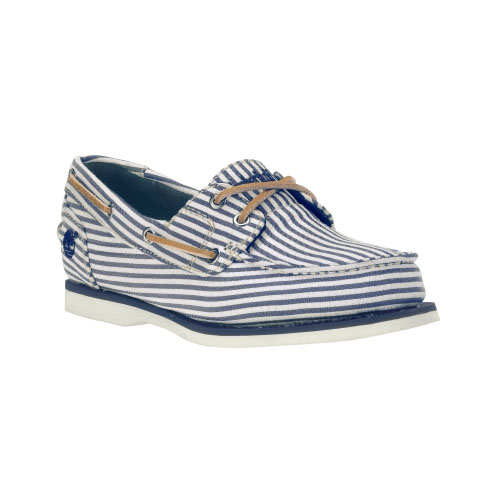 Timberland Womens Classic Canvas Boat Shoes Blue/White Stripe