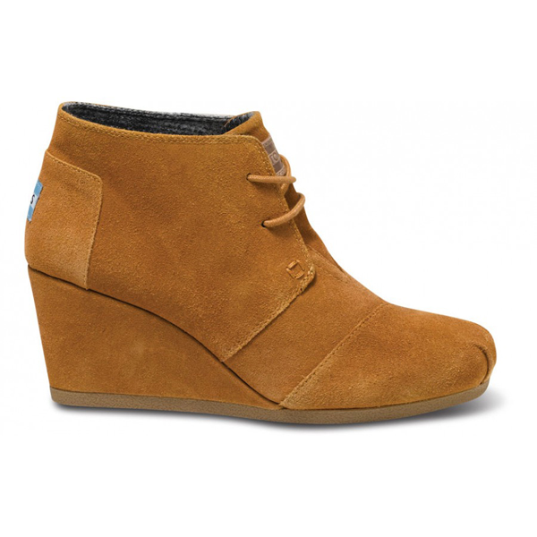 Toms Chestnut Suede Women Desert Wedges