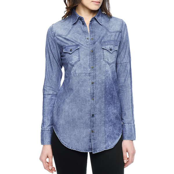 TRUE RELIGION EUROPEAN ANABEL PATCH WOMENS SHIRT