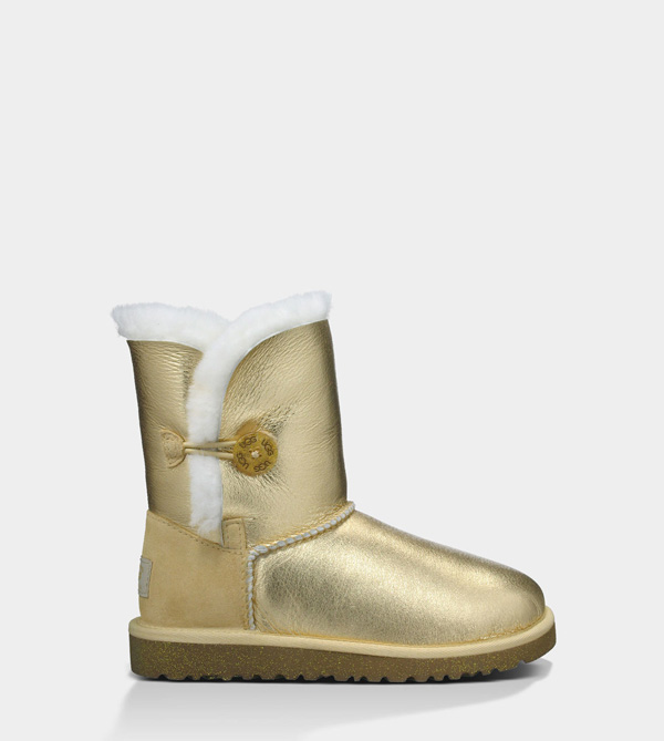 UGG TODDLERS BAILEY BUTTON METALLIC GOLD