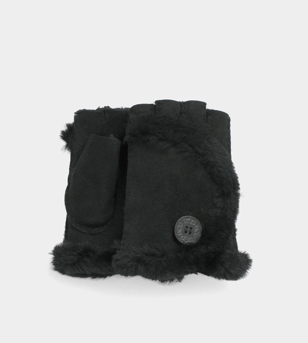UGG WOMENS MINI BAILEY FINGERLESS GLOVE BLACK