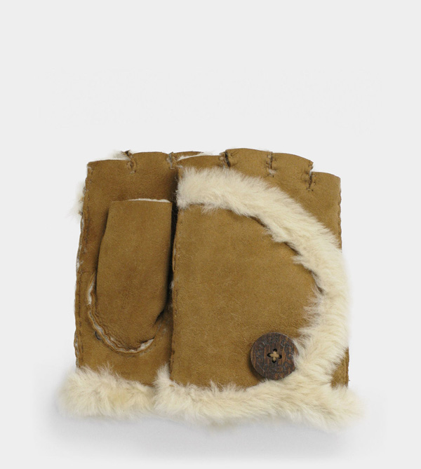 UGG WOMENS MINI BAILEY FINGERLESS GLOVE CHESTNUT