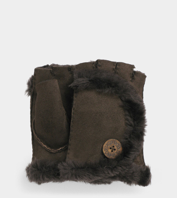 UGG WOMENS MINI BAILEY FINGERLESS GLOVE CHOCOLATE