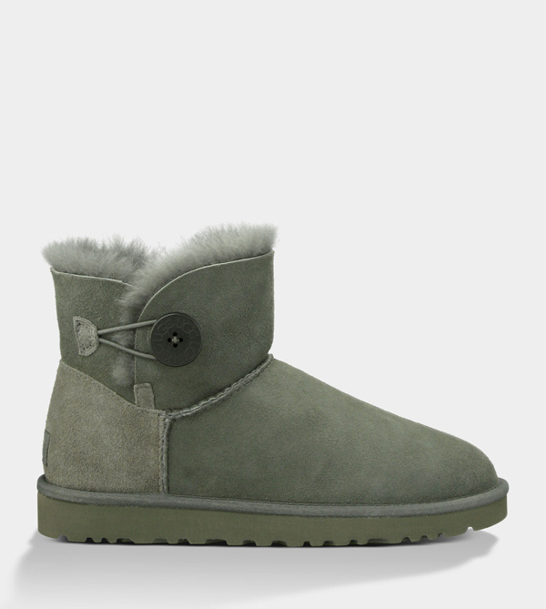 UGG WOMENS MINI BAILEY BUTTON GREY