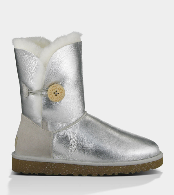 UGG WOMENS BAILEY BUTTON METALLIC STERLING